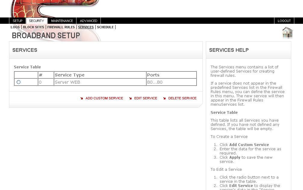 Open TCP port 80 for Web Server